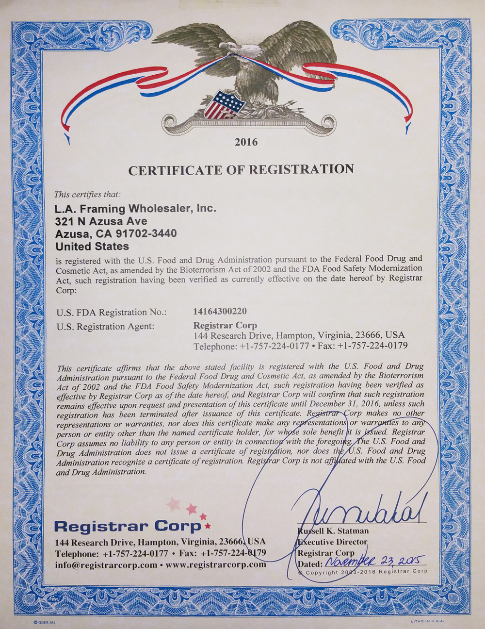 FDA Registration of Certification - L.A. Gold Leaf Wholesaler U.S.